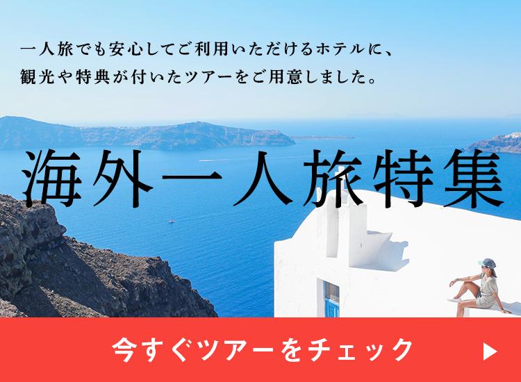 一人旅でも安心してご利用いただけるホテルに、観光や特典が付いたツアーをご用意しました。海外一人旅特集