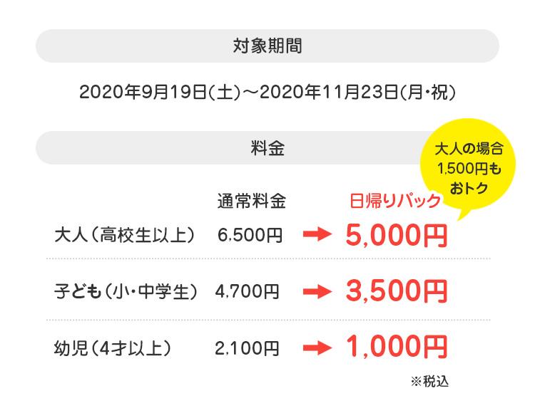 対象期間:2020年9月19日(土)~2020年11月23日(月・祝)料金:大人(高校生以上)5,000円、子ども(小・中学生)、3,500円幼児1,000円