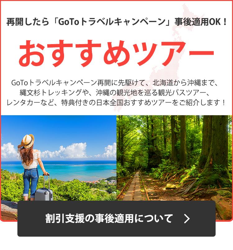 再開したら「GoToトラベルキャンペーン」事後適用OK!おすすめツアー